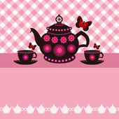 Tea pot and tea cups — Stock Vector