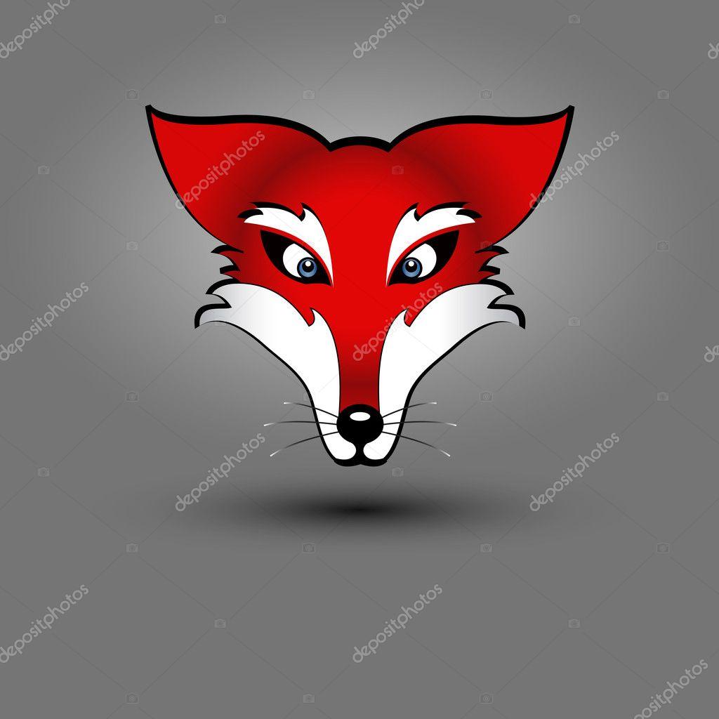 red fox s head   Vector by  Fox Head Illustration
