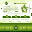 Green eco website template — ストックベクタ