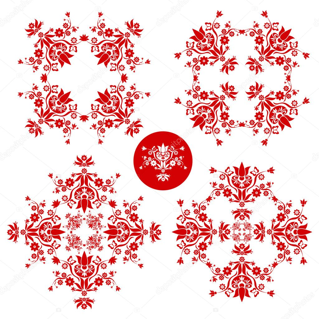Red and white folk floral decoration for easter, wedding and other festivities — Stock Vector #11829287