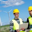 Two Engineers in a Wind Turbine Power Station — 图库照片