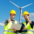 Two Engineers in a Wind Turbine Power Station — Stock Photo #10789953