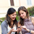 Two girlfriends in park with a mobile phone — Stock Photo #10966821