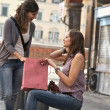 Young Women in the city after Shopping — Stock Photo #10997148
