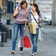 Young Women in the city after Shopping — Stock Photo
