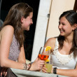 Two Young Women Cheering with Cold Drinks — Stock Photo #11058748