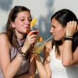 Two Young Women Cheering with Cold Drinks — Stock Photo #11058817