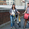 Two Beautiful Women Walking in the City with Bicycles and Bags — Stock Photo #11059062