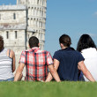 Four Friends on Vacation Visiting Pisa — Stock Photo #11069450