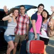 Four Friends Ready to Leave For Vacation — Stock Photo #11219886