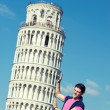 Young Man with Leaning Tower of Pisa - ストック写真