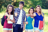 Young group of happy students showing thumbs up sign together — Stock Photo