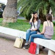 Two Young Women on a Bench at Park — Stock Photo
