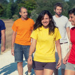 Group of Walking Together outdoor — Stock Photo