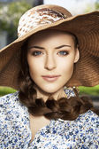 Portrait of woman in the hat — Stock Photo