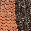 Stock Photo: Red and old roof tiles