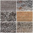 Stock Photo: Set of brick and rock wall backgrounds