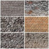 Set of brick and rock wall backgrounds — Stock Photo