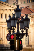 Lamppost and traffic light in Barcelona — Stock Photo