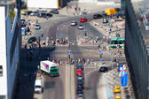 City street traffic from aerial view with car, taxi — Stockfoto
