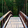 Small wooden footbridge over stream — Stock Photo