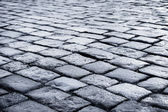 Pavé de pierres noires et blanches route rue avenue — Photo