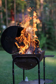 Barbecue grill with open fire — Stock Photo