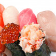 Assorted Sushi small. On a white background. Salmon, tuna, yello - ストック写真