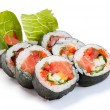 Futomaki. Salman. On a white background. Salmon, tomatoes, Bulga - Foto Stock