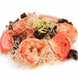 Foto Stock: Salad. Seafood Sarada. On white background. Tiger prawns, toma