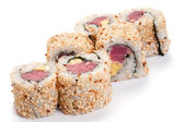 Uramaki with tuna. On a white background. Tuna, rice, sesame see — Stock Photo
