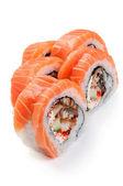 Uramaki. Syake unagi maki. On a white background. Salmon, smoked — Stock Photo