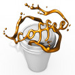 Splashing coffee with paper cup — Stock Photo