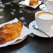 Croissant & Cappuccino for Two - Stock Photo