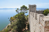 Lake Trasimeno from the Fortress at Castiglione del Lago — Stock Photo
