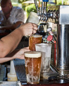 Beer from Tap to Chilled Glass — Stock Photo