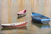 Three Boats in Harbor — Стоковое фото