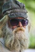 Bearded Man with Cap & Sun Glasses — Stock Photo