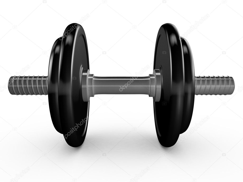 Black dumbell or hand weight on white background.  Photo #11901065
