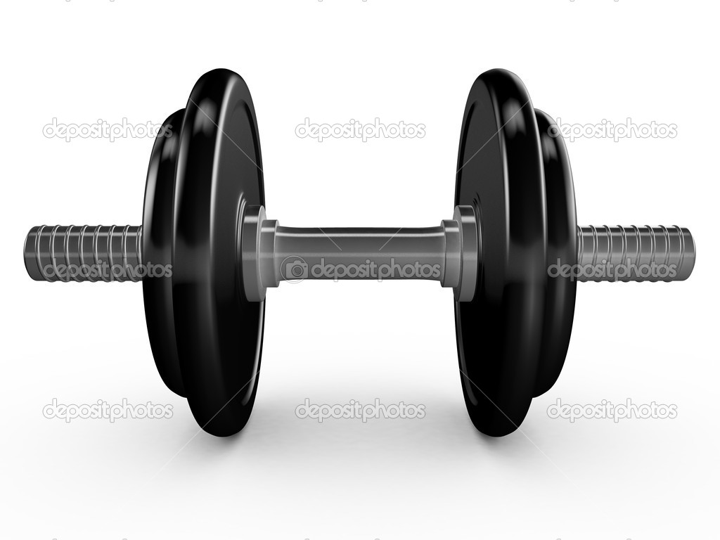 Black dumbell or hand weight on white background.  Stock Photo #11901065
