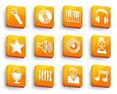Audio and Music icons on buttons — Stock Vector