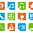 Audio and Music icons on stickers — Stock Vector #11626789