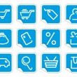 Stock Vector: Shopping icon set on stickers