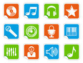 Audio and Music icons on stickers — Stock Vector