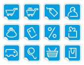 Shopping icon set on stickers — Stock Vector