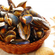 Stock Photo: Mussels in basket