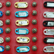 Group of doorbells with empty address labels — 图库照片