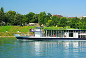 Riverboat on the Rhine in Basel — Stock Photo