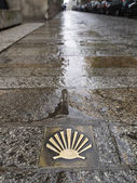 Pilgrim's shell (Venera) in the way of Santiago de Compostela. — Stock Photo