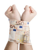 Two hands cuffed bills 50 euros — Stock Photo
